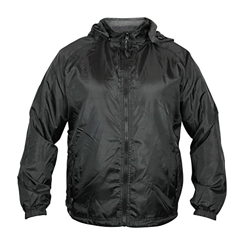 (Maximos by R & B New Men's Water Resistant Reversible Windbreaker Fleece Hooded Jacket (M, Black))
