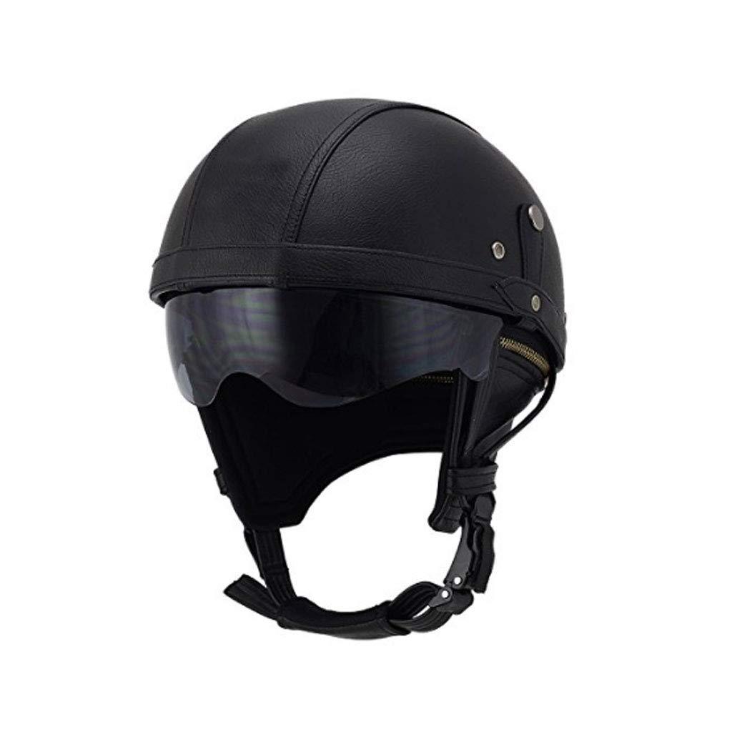 オートバイのヘルメットハーフカバープリンスレトロヘルメット電気自動車の機関車ハーフヘルメットオートバイの夏のヘルメットの男性と女性の安全ファッションクールなガラスの鋼材 (色 : 黒, サイズ さいず : XL) 黒 X-Large