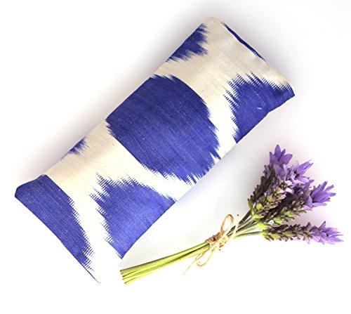 Relaxing Lavender Eye Pillow Uzbek Ikat Silk Blue White Removable Cover Gift Idea Yoga Retreat Sleep Essential Aromatherapy Silk Mask - Silk Ikat Pillow Cover
