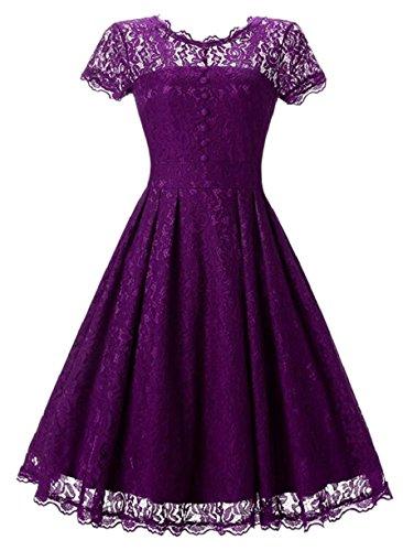 Jaycargogo Femmes Dentelle Florale Manches Courtes Rétro Faible Robes Clubwear Swing Crochet Dos Violet