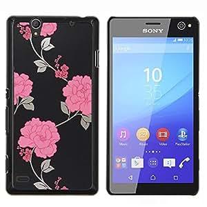 Papel pintado floral gris Hermosa- Metal de aluminio y de plástico duro Caja del teléfono - Negro - Sony Xperia C4 E5303 E5306 E5353