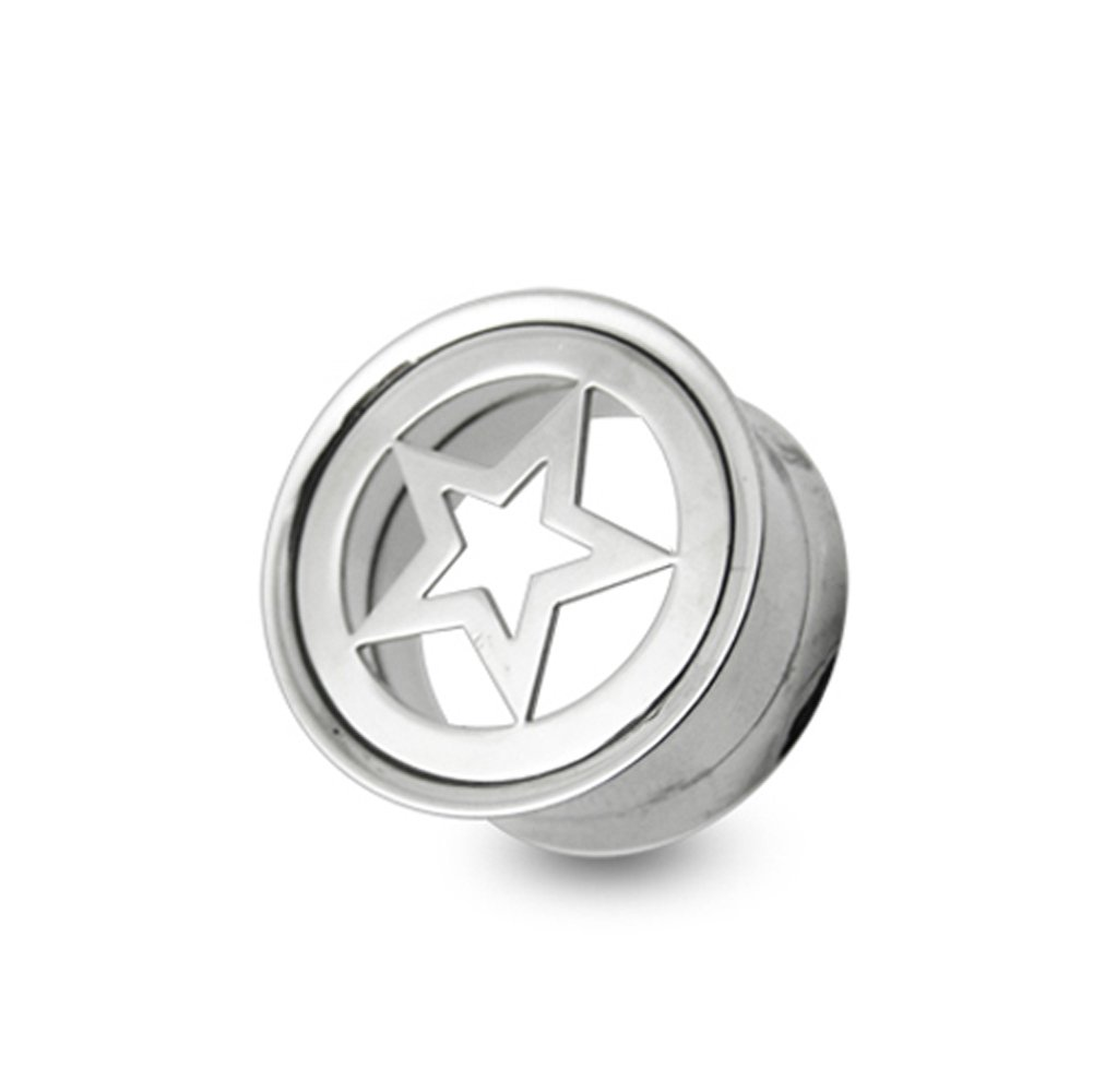 14MM Star Plate Top Internal Fit Surgical Steel Flesh Tunnel Body jewelry