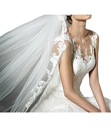 Promgirl House Damen 2016 Schoen Spitze A-Linie Rundkragen Brautkleider Hochzeitskleider Lang