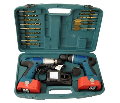 TWIN CORDLESS DRILL / DRIVER WITH X 2 BATTS 18V VOLT MARKSMAN