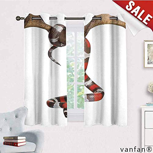 LQQBSTORAGE Reptile,Bedroom Curtains Tropical,Wild Milk Snake Enjoying Life Creepy Creature Stylish Nature Studio Artful Photo Toxic Print, Modern Blackout Draperies for Bedroom,Multi (Difference Between Coral Snake And Milk Snake)