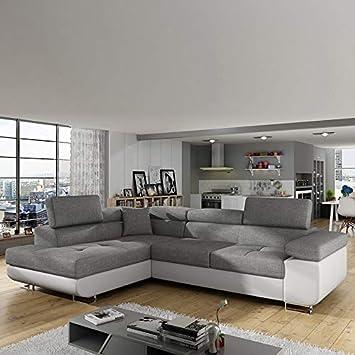M-071 sofá de Esquina Convertible Gris y Blanco Willis ...