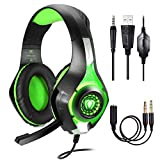 BlueFire Stereo Gaming Headset for Playstation 4 PS4 Over-Ear Headphones with Mic and LED Lights for Xbox One - PC - Laptop(Green)