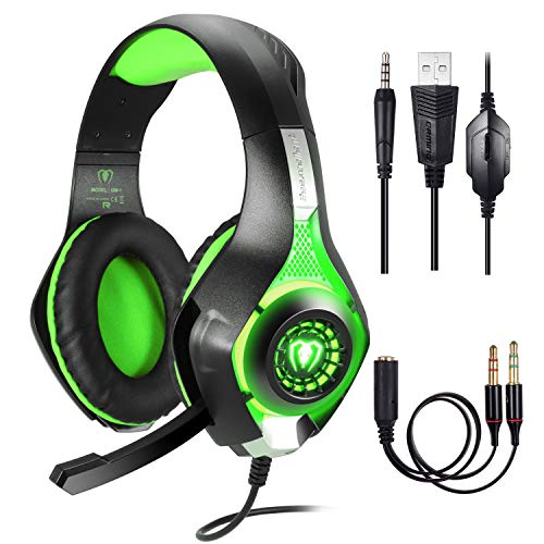 BlueFire Professional 3.5mm PS4 Gaming Headset Headphone with Mic and LED Lights for Playstation 4, Xbox one,Laptop, Computer (Green)