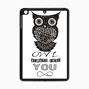 """Ipad Mini and Ipad Mini 2 Case - Leather Cover Case for SamSung ipad mini I9500 / """" Owl Always Love You """" Cartoon Bird Infinity Love Forever Mark Paper Cut Art Font Design / Black TPU Around Anti-dirt Protective Cover / Retail Packaging"""