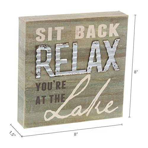 "Barnyard Designs Sit Back and Relax You're at The Lake Box Sign Decorative Rustic Wood Lake House Cabin Home Wall Decor 8"" x 8"""