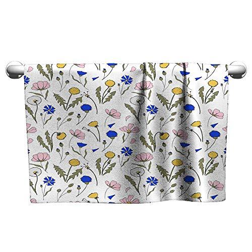 Suchashome Beach Towels Field Flowers Seamless Pattern Hand Drawn Illustration Bright Cartoon Illustration for Card Design Fabric and Wallpaper Microfiber Towel Scrub Towel 27 x 55 -