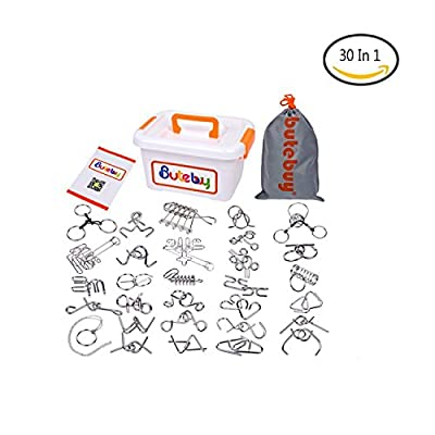 LOOBANI Assorted Brain Teasers Metal Wire IQ Puzzles with Plastic Box Package Great Educational Intelligence Toys for Adult Children and Student Expanding Mind 1 Set 30Pcs