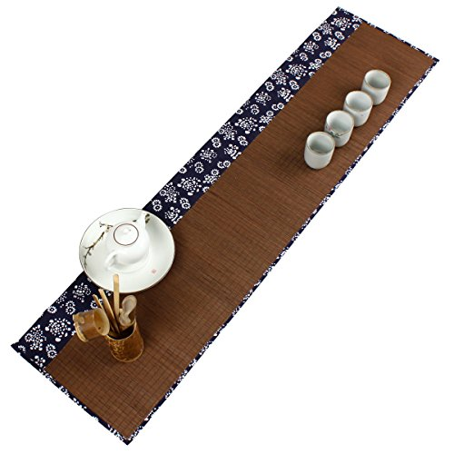 Tea Ceremony – Kung Fu Tea Natural Bamboo Tea Table Placemat Handmade Bamboo Slat Table Runner 12 By 47-Inch, Floral-dark