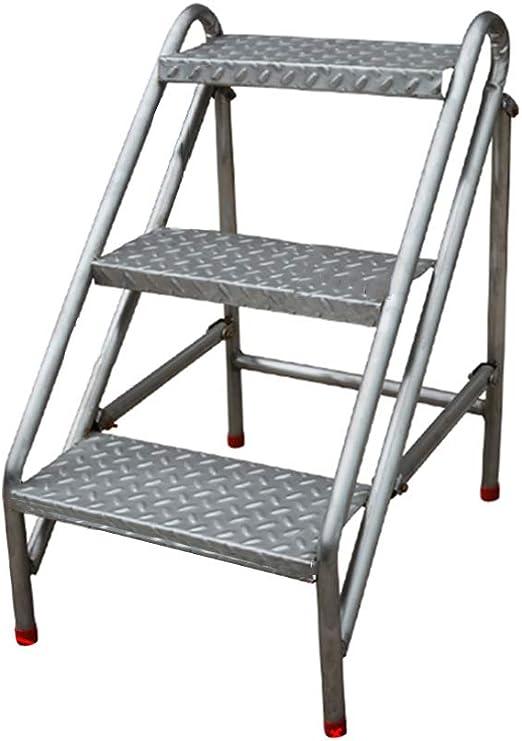 Escalera portátil Industrial de la Escalera de del escalón 3, Taburete de Escalera del hogar Escaleras de Tijera de Acero Inoxidable para Adultos, Herramienta de jardín en el hogar Máx.150 kg: Amazon.es: