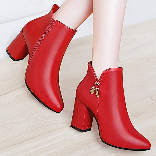 AJUNR-Zapatos De Mujer De Moda Las Nuevas Botas Y Botines Botas Botas Gruesas High-Heeled Hembra Con Zapatos De Mujer Sugerencia La Marea Salvaje De Terciopelo Rojo 38 35