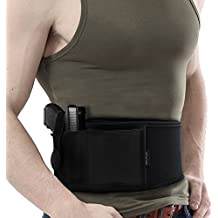M.A.K Adjustable Tactical Elastic Belly Band - Abdominal Band Pistol Holster for Concealed Carry, Black,[New upgrade]