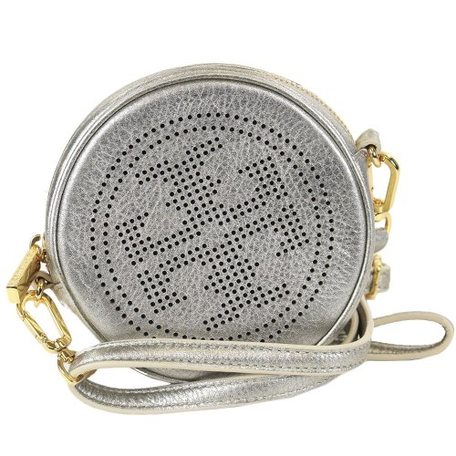 Tory Burch Perforated Leather Logo Crossbody Light Platinum