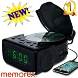 Memorex CD Top Loading CD Dual Alarm Clock AM/FM Stereo Radio with 0.9-Inch Green LED Display and 3.5mm Aux Jack & Headphone Jack input (Black)