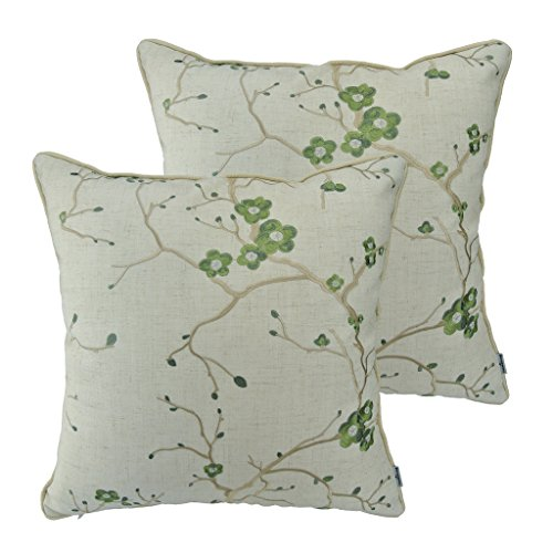 Thanksliving Decorative Embroidery Pillowcase Cushion Covers 18 x 18 Inches (Set of 2),Grass Green Plum Blossom