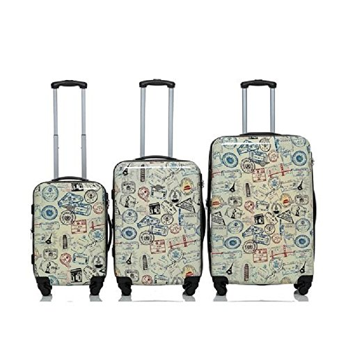 World Stamps Print Travel Luggage 3-Piece Set, Fun Graphic Pattern, Stylish, Fashionable, Expandable, Multi-Compartment, Spinner, Hard shell, Handle, Hardsided, Rolling Suitcase, For Unisex
