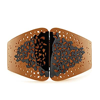 Womens Wide Stretchy Leather Belt with Hollow Vintage Flower Buckle Cinch Corset
