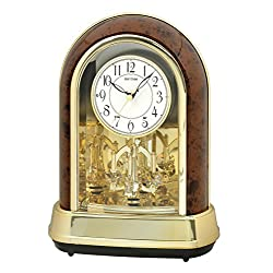 Rhythm Clocks Crystal Dulcet II Musical Motion Mantel Clock, Woodgrain