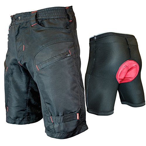 Urban Cycling Apparel Youth Single Tracker - Kids Mountain Bike MTB Cargo Shorts Bundle with Detachable Padded Undershorts
