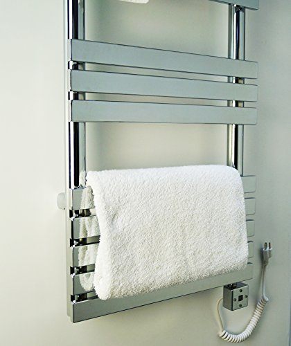 (PROFESSIONAL ELECTRIC TOWEL WARMER - 500 WATTS + ROOM HEATER + TIMER PROGRAMMER AND THERMOSTAT. BATHROOM AND KITCHEN. electric towel heater. hanging towel rail. LOW CARBON STEEL. 15 TUBES.)