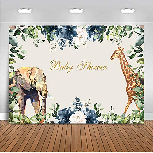 Mocsicka Jungle Baby Shower Backdrop 7x5ft Vinyl Giraffe