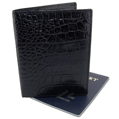 DataSafe Deluxe Italian Leather Passport Wallet with RFID Sheilding Security (Black) -