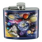 Solar System Planets Space Earth Saturn Jupiter Mars Stainless Steel 5oz Hip Drink Kidney Flask
