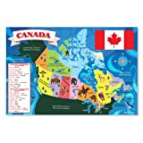 Melissa & Doug Canada Map Jumbo Jigsaw Floor Puzzle (Easy-Clean Surface, Promotes Hand-Eye Coordination, 48 Pieces, .61 x .91 Meters)