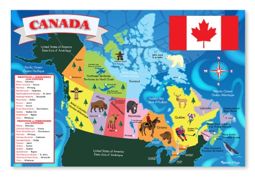 (Melissa & Doug Canada Map Jumbo Jigsaw Floor Puzzle (Easy-Clean Surface, Promotes Hand-Eye Coordination, 48 Pieces, 2 x 3 Feet))