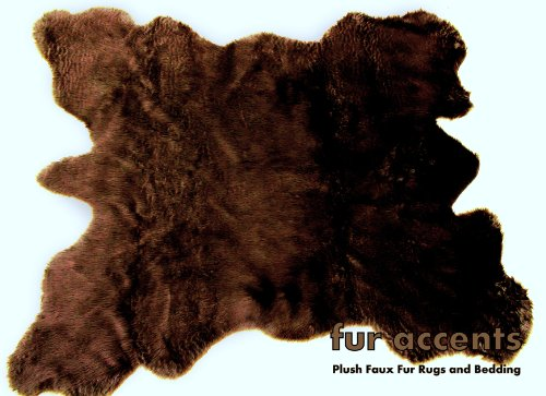 Fur Accents Faux Fur Buffalo Hide Pelt Rug (Brown) by Fur Accents