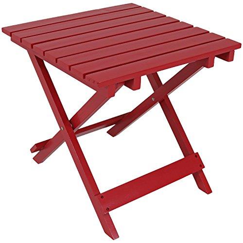 (Sunnydaze Wood Adirondack Folding Patio Side Table, Red)