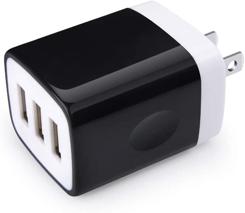 3 Port USB Wall Plug, GiGreen 3.1A Ultra Compact Charger Adapter Home Travel Charging Cube Block Compatible iPhone Xs X 8 7 6s Plus Samsung S9 S8 S7 S6 Note 8, LG, Nexus, One Plus, HTC, Moto, Nokia