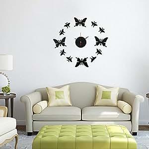 cococina modernos DIY acrílico Espejo 12mariposas reloj de pared adhesivo decoración del hogar arte