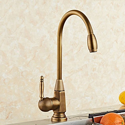 Commercial Single Lever Pull Down Kitchen Sink Faucet Brass Constructed Polished European kitchen faucet full copper rotatable single handle single hole faucet, B