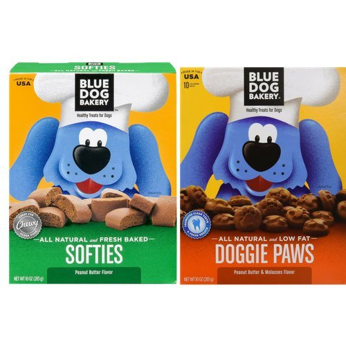 Blue Dog Bakery All Natural and Low Fat Doggie Paws Peanut Butter & Molasses Flavor, and All Natural and Fresh Baked Softies Peanut Butter Flavor (2 pack set) (Dog Bakery Low Fat)