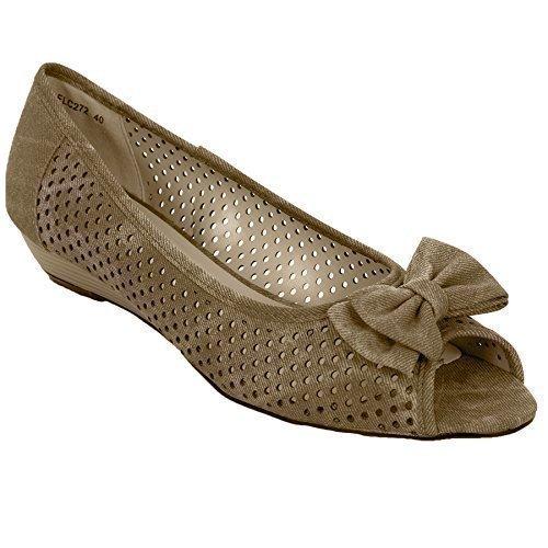 DAMES semelle bout compensée sandales Fantasia décontracte femmes talon Boutique chaussures été ouvert bas Taupe papillon 7UqwS5pqT