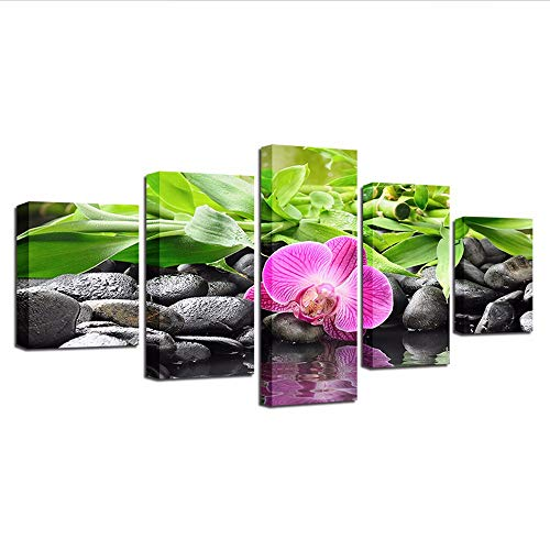 Yyjyxd Canvas Pictures Modular Living Room Decor Framework 5 Pieces Stones Bamboo Orchid Flowers Paintings Wall Art Hd Prints Posters,16X24/32/40Inch,with Frame