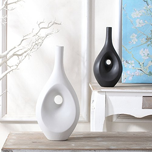JIAAE Nordic Style Abstract Ceramic Decorations Modern Minimalist Black And White Pottery Crafts Home Living Room Ornaments (Set Of 2)