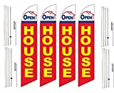 Windless Swooper Flag & Pole Kit 4 Pack OPEN HOUSE Red Yellow Blue Home Image