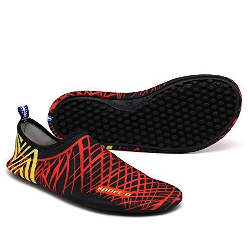 iLory Unisex-adult Barfuß Aqua Wasser-Haut-Schuhe Wohnungen Yoga-Schuhe Schwimmschuhe Surfschuhe Aqua Wasser Schuhe Rot