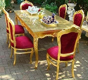 Baroque Dining Room Set BordeauxGold Dining Table 6 Chairs