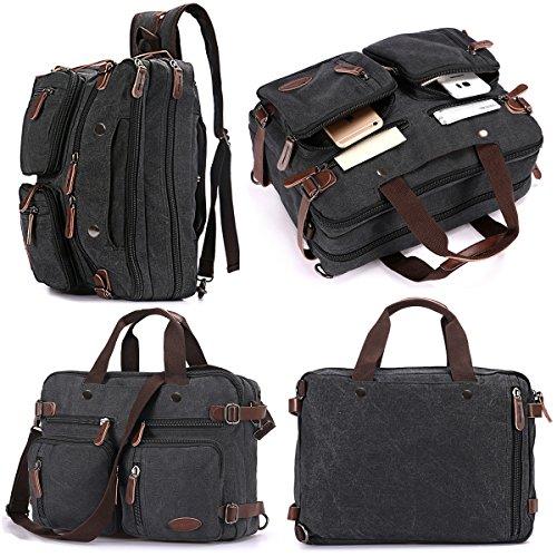 - 17.3 Inch Laptop Backpack Messenger Bag,Convertible Backpack Briefcase Shoulder Bag for iPad Pro Macbook Men Women (Casual Black 15.6)
