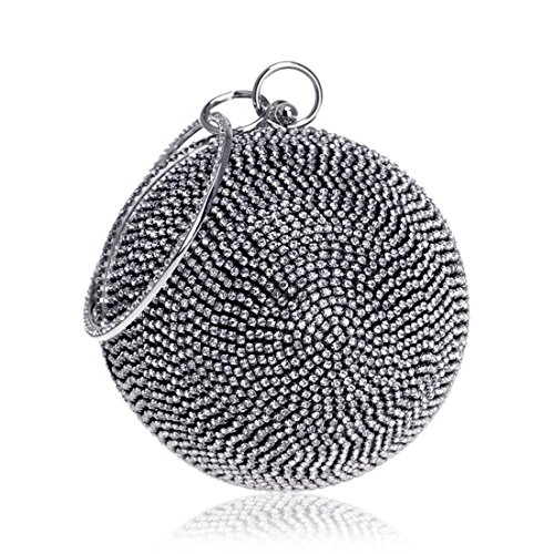 And Fly America Color Bag Black Handmade Spherical Silver encrusted Europe Diamond bag Evening Women's Evening Diamond Bag New evening nAq8A0wRB
