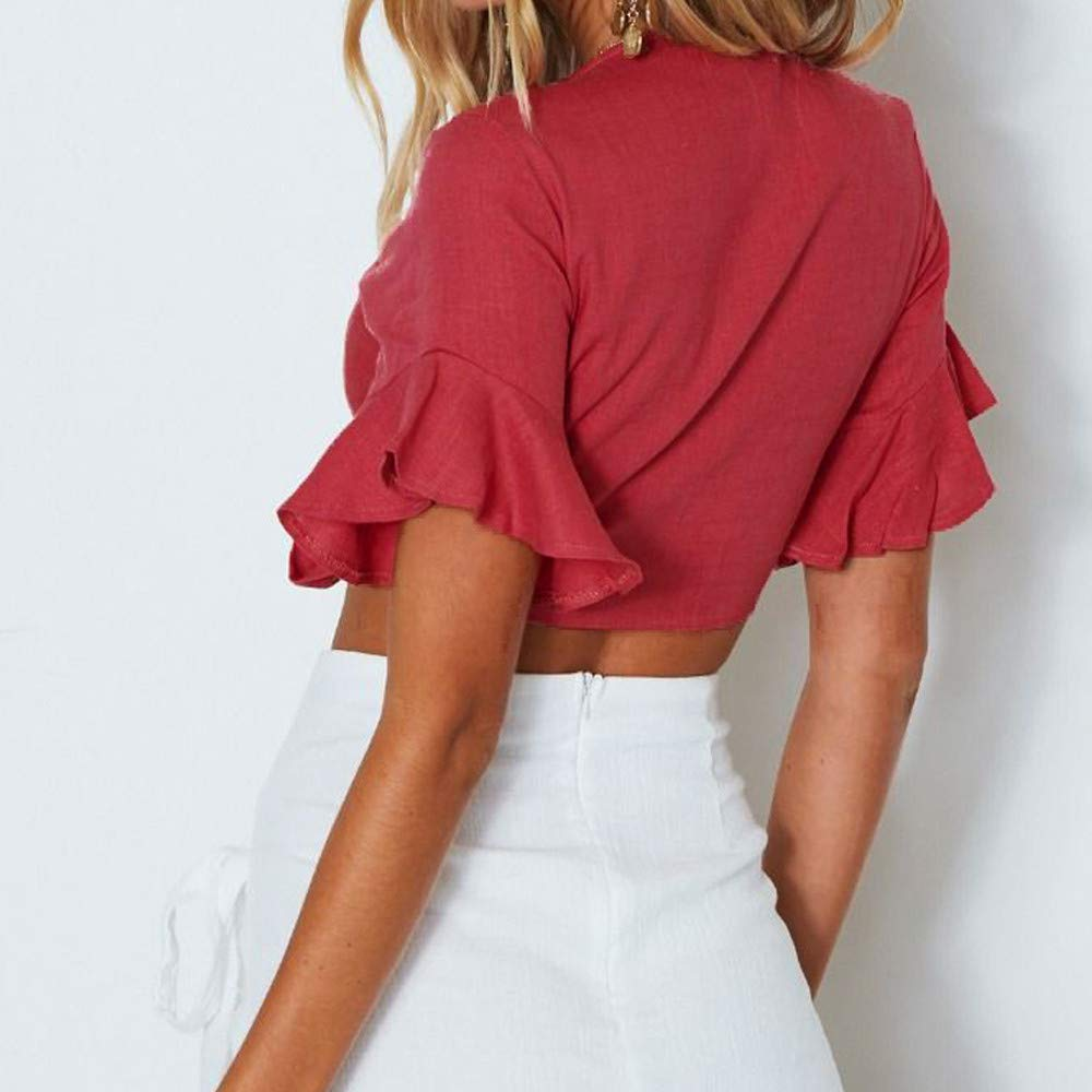 Giulot Womens V Neck Wrap Front Pleated Cami Tank Tops Casual Ruffle Short Sleeve Shirts Blouses