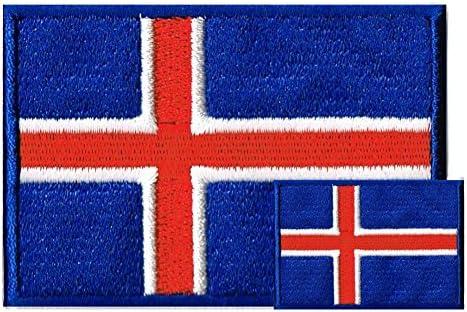 アイスランド国旗 ワッペン エンブレム M+SS ペアセット【アイロン接着】