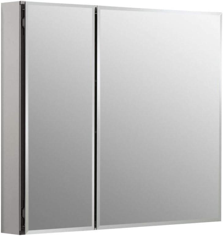 KOHLER K-CB-CLC3026FS Frameless Double Door 30 inch x 26 inch Aluminum Bathroom Medicine Cabinet Recess or Surface Mount